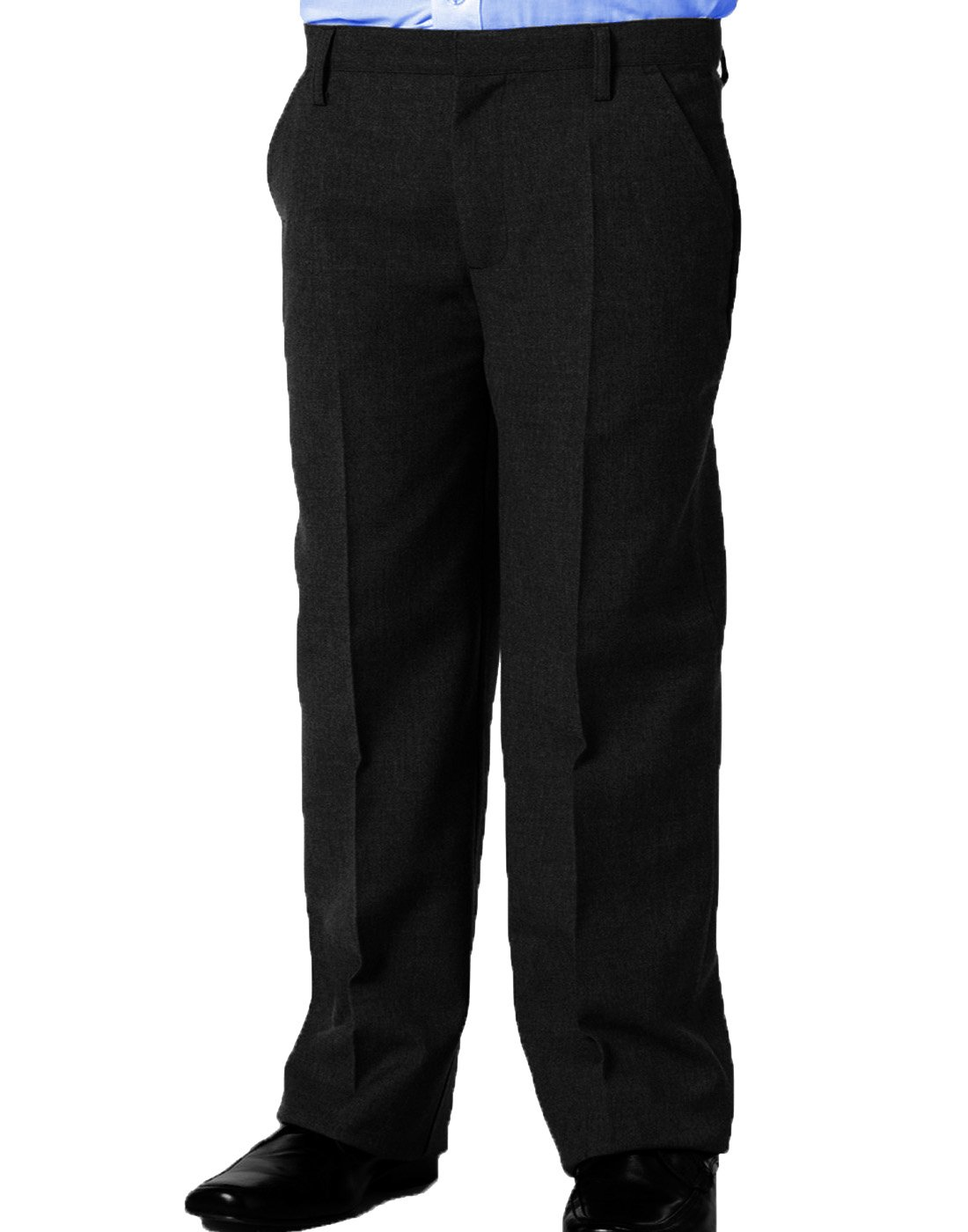 Dalsa New Boys Sturdy Stocky Fit Plus Size School Trousers Grey Black Good Quality Generous Fit Sizes Regular/Standard Leg