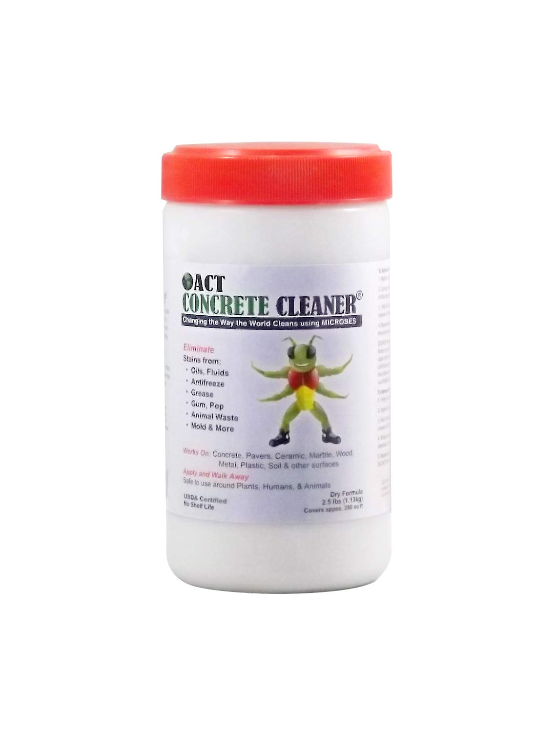ACT Concrete Cleaner and Degreaser - Industrial and Residential - Remove Oil, Grease, Animal, and Mildew Stains - Perfect For Your Driveway, Garage, or Warehouse - Biodegradable and Non-Toxic American Cleaning Technologies CC-2.5lb