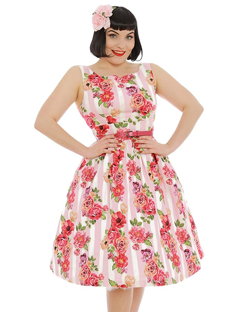 a96876f2dd95 Top6: Lindy Bop Delta\' Pink Floral Bouquet Print Swing Dress