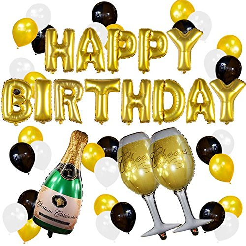 Happy Birthday Party Balloons Banner Decoration, Champagne Bottle Goblet Big Mylar Foil Balloons Thick Latex Balloons Gold Black White for Party Favor Supplies