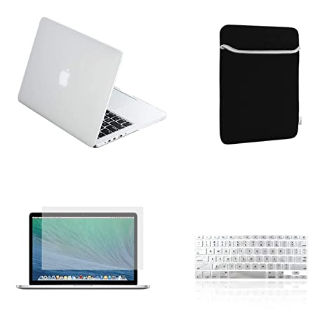 TOP CASE - 4 in 1 Essential Bundle Matte Hard Case,Keyboard Cover,Sleeve Bag,Screen Protector Compatible Old MacBook Pro with Retina Display Model ...