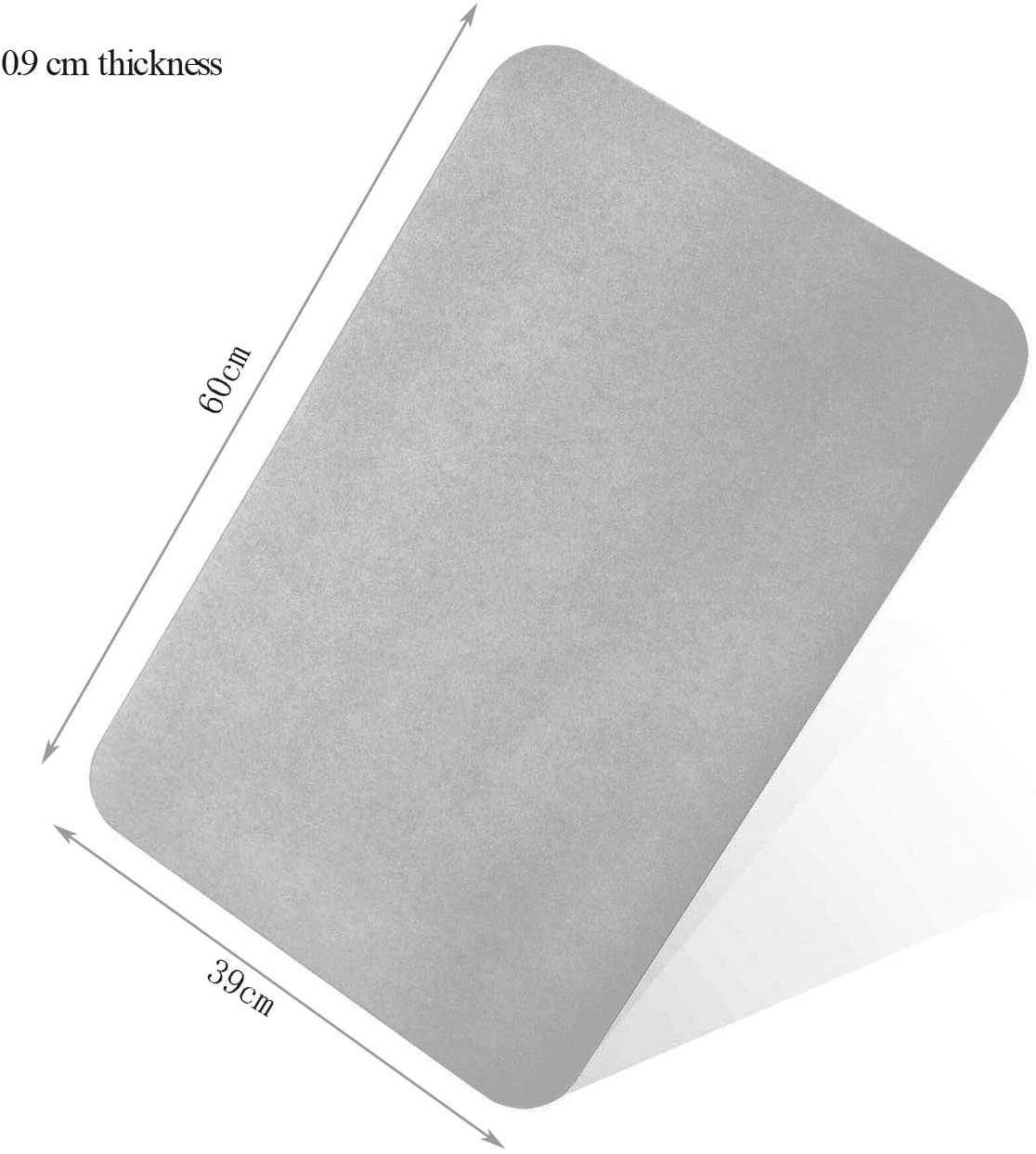 LaCyan Alfombra de Ba/ño de Diatomita Antideslizante de Secado R/ápido para Suelo de Ducha de Ba/ño 60 x 39 x 0.9 cm