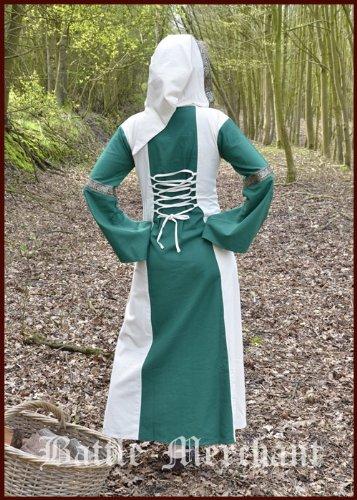 Kapuze grün natur Eleanor Mittelalter Größe L Wikingerkleid mit Kleid Mittelalterkleid LARPkleid q1RwUE