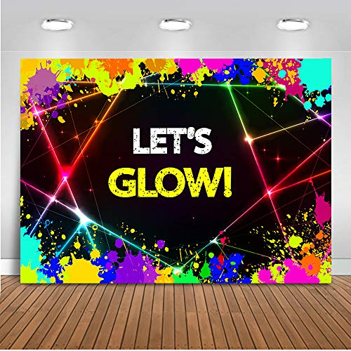 Mehofoto Glow Neon Party Backdrop Let's Glow Splatter Shinning Lights Photography Background 7x5ft Vinyl Glowing in The Dark Party Backdrops Banner ()