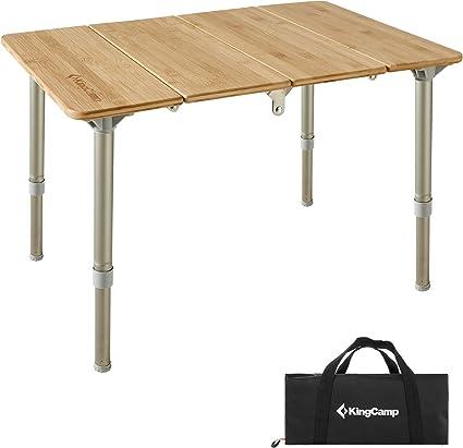 Qeedo Kimmy Table de Camping avec Plateau en Bambou /à Hauteur r/églable