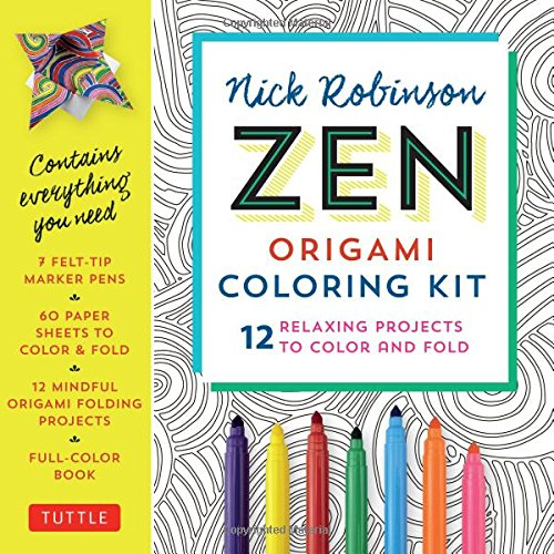 Zen Origami Coloring Kit: 12 Relaxing Projects to Color and Fold: Includes Origami Book with 12 Mindful Designs, 7 Markers & 60 Zen Patterned Origami (Paper Fortune)
