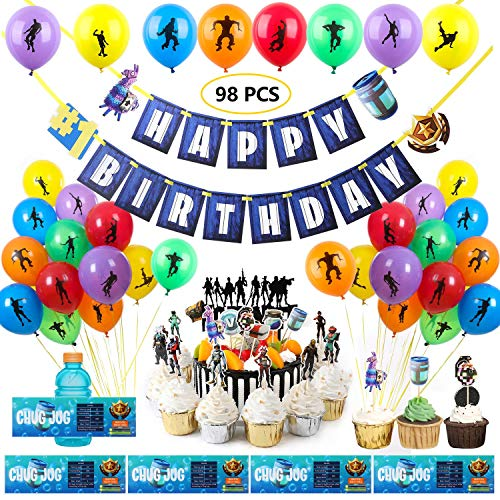 SUYEPER 98 PCS Game Party Supplies Set Birthday Party Supplies Set for Game Lovers - Include Birthday Banner, Cake Topper, Cupcake Topper,Bottle Label and Balloon Party Decorations]()