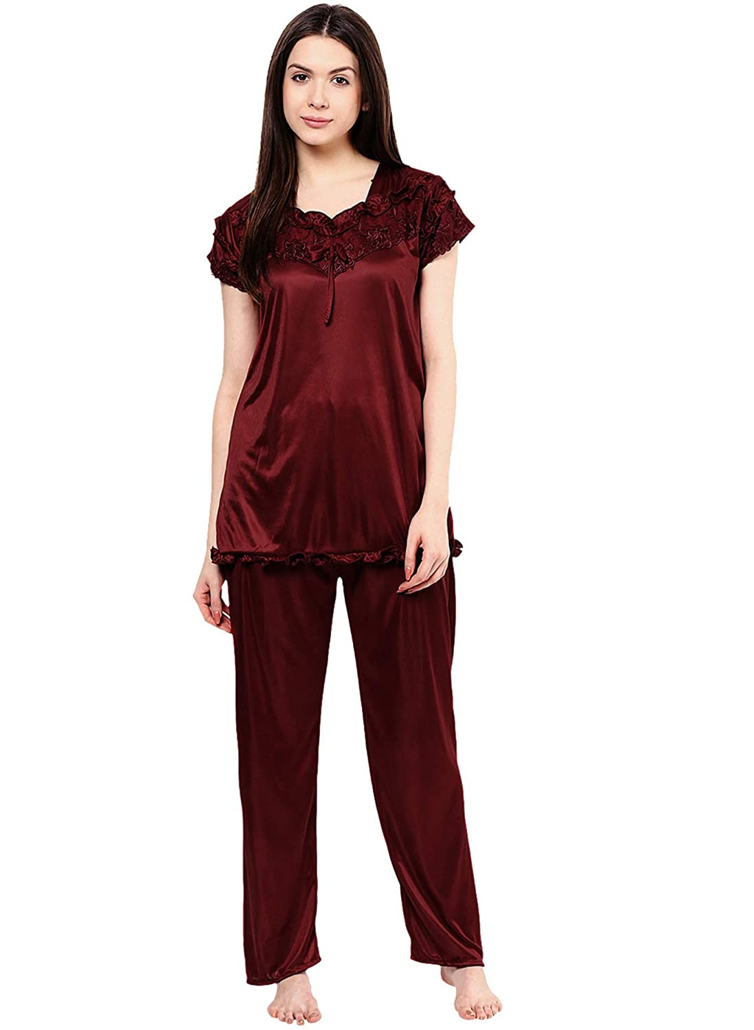 00a309b261 Phalin Women's Satin Night Suits Set (Multicolour, Free Size) - Pack of 2:  Amazon.in: Clothing & Accessories