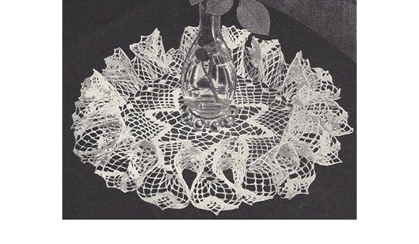 Vintage Crochet PATTERN to make Star Center Ruffled Table Doily Mat Centerpiece
