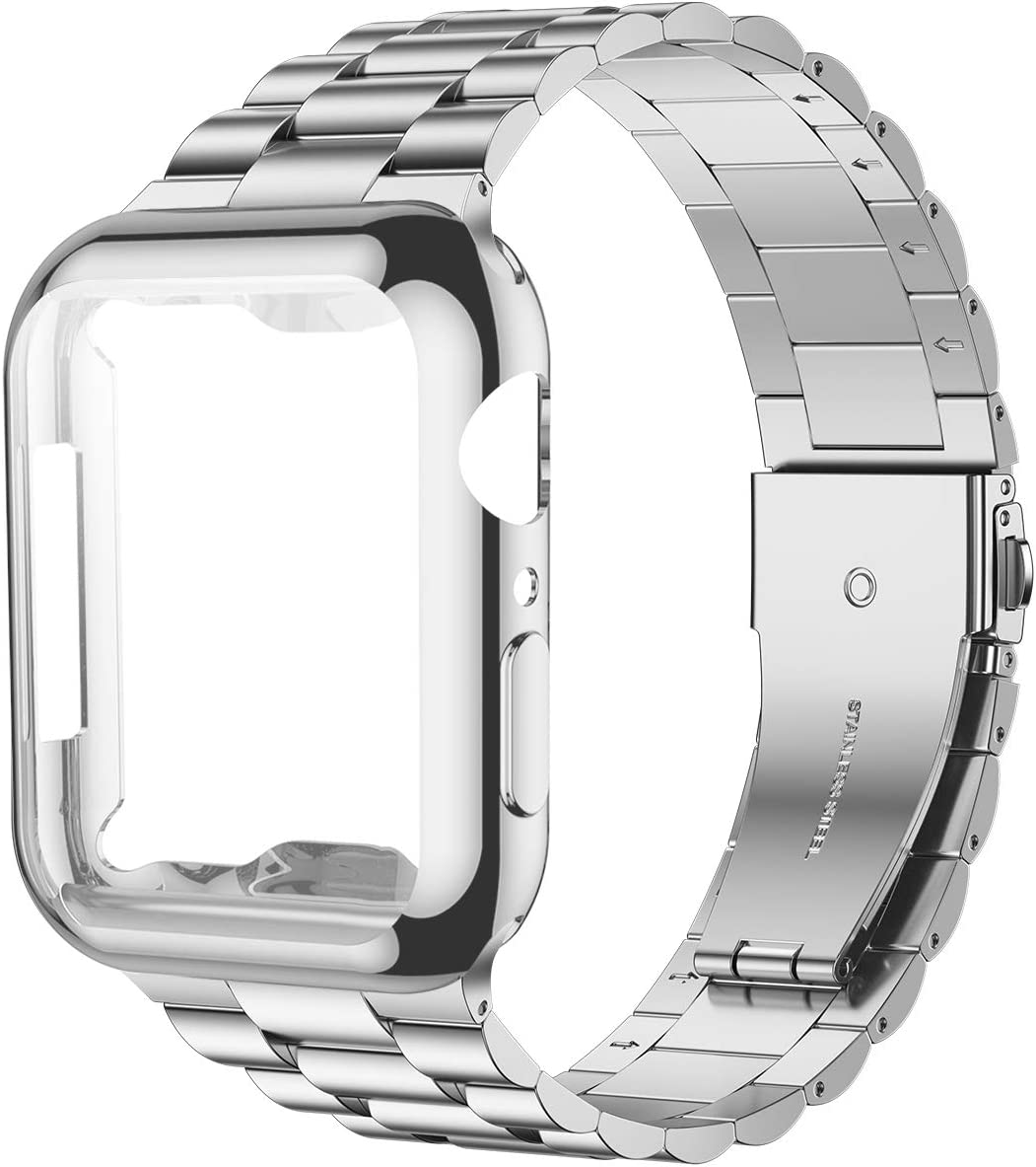 iiteeology Compatible with Apple Watch Band 42mm Series 3 2 1, Upgraded Stainless Steel Link Replacement Band with iWatch Screen Protector Case Silver/Silver