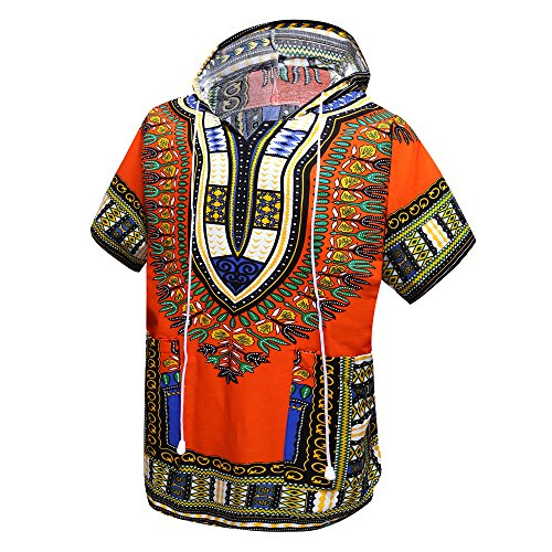 African Dashiki Unisex Traditional Hoodie Top(Orange)