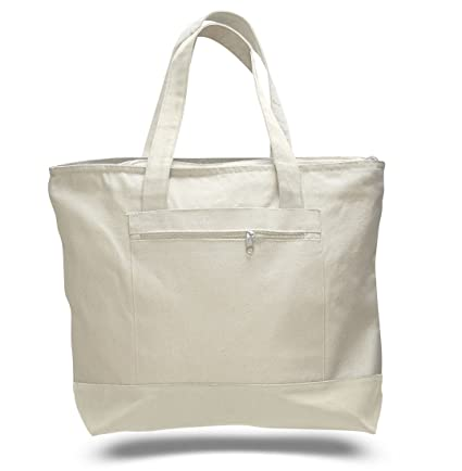Image Unavailable. Image not available for. Color  18 quot  Stylish Canvas  Zippered Tote Bag w Zipper Front Pocket ... b162a61302c22