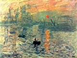 Wieco Art - Sunset by Claude Monet Famous Oil Paintings Reproduction Modern Framed Giclee Canvas Prints Seascape Artwork Sea Pictures on Canvas Wall Art for Living Room Home Decorations