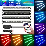 Unifilar Car LED Strip Light, MINGER 4pcs 72 LED APP Controller Car Interior Lights, Waterproof Multicolor Music Under Dash Lighting Kits for iPhone Android Smart Phone, Car Charger Included, DC 12V