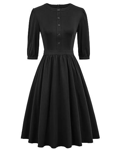 Curlbiuty Women's 1950s Retro Vintage Swing Dress Casual A Line Tea Dresses by Curlbiuty
