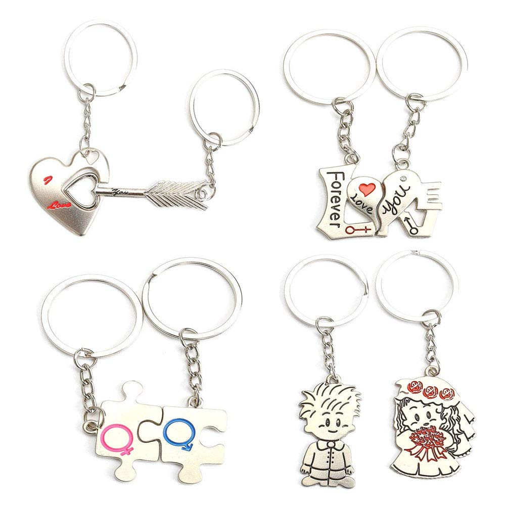 Matching Couple Keychain Set, 4 Pairs Love Puzzle Keychain Key Ring for Him and Her Valentine's Day Gifts Birthday 4 Pairs Love Puzzle Keychain Key Ring for Him and Her Valentine' s Day Gifts Birthday MCpinky