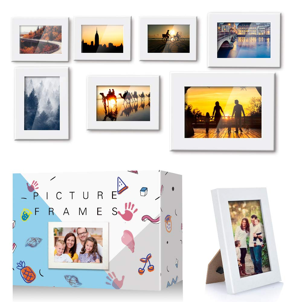 FUNSPONSOR  Picture Frames Set of 7 piece, Three 3x5 Inches-Three 4x6 Inches-One 5x7 Inches,Add three DIY pic frames kits, Solid Wood picture frame Beautiful gift box by FUNSPONSOR