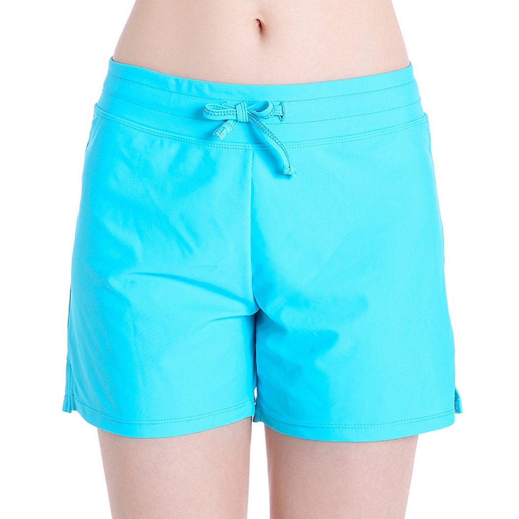 HOLYSNOW Women's Stretch Board Short   Briefs Inner Lining   Comfort Quick Dry (M(US 8-10), Aqua)