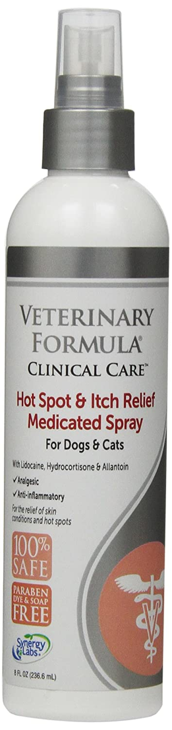 Veterinary Formula Clinical Care Hot Spot and Itch Relief Spray for Dogs and Cats – Medicated Topical Treatment for Skin Irritations and Hot Spots - Fast Acting, Heals and Soothes (8oz)