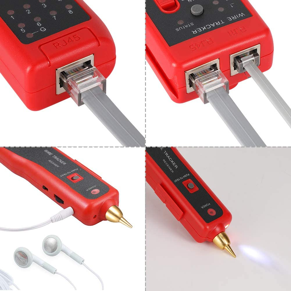 Probador de Cable RJ11 RJ45 Detector de cables el/éctricos Detector de l/ínea Buscador de L/íneas Rastreador de Cables para l/íneas telef/ónicas y Cables LAN Comprobador de Cables
