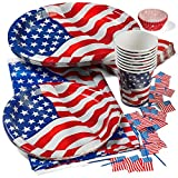 "Patriotic 4th of July Party Set Deluxe- Patriotic Cups, Patriotic 9"" Plates, Patriotic Oval Plates, Patriotic Napkins, Patriotic Tablecloth, and Patriotic Cupcake Holder with American Flag Picks"
