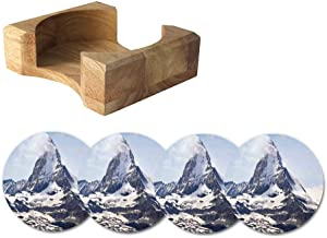 Farmhouse Decor Absorbent Coasters in Wooden Holder,Matterhorn Summit with Cloud Mountain Scenery Glacier Natural Beauty Ceramic Drink Coasters Set of 4,Suitable for Kinds of Cups,Blue White Black