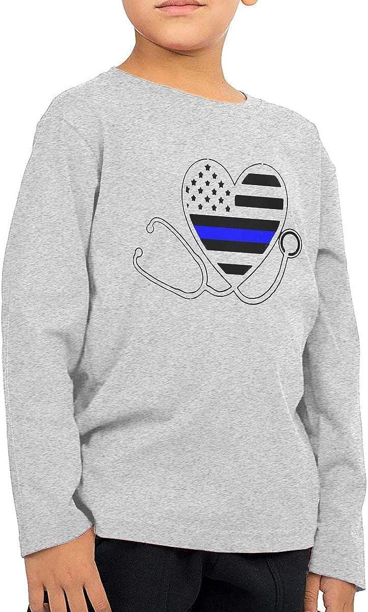 CERTONGCXTS Baby Girls Kids Thin Blue Line Nurse Stethoscope Nurses Support ComfortSoft Long Sleeve Tee