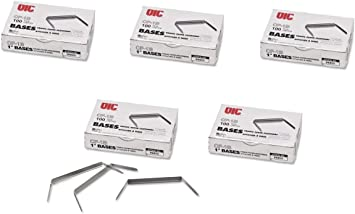 99854 2 inch Capacity 2.75 inch Base Officemate Prong Paper Fastener 500 Fasteners Total Bases Only 100//Box Pack of 5 Boxes