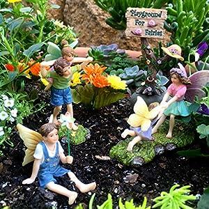 pretmanns fairy garden fairy accessories miniature fairy garden accessories a joyful fairy figurines playground kit fairy garden miniatures 4 pieces