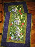 Wildflower Quilted Table Runner Purple Red Yellow Flowers 14 x 48'' Reversible Cotton