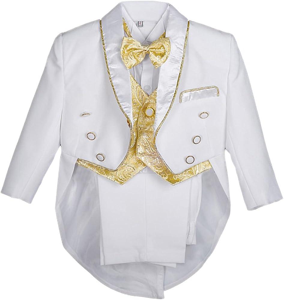 Lito Angels - Chaleco de jacquard, 5 piezas, formal, traje de esmoquin con cola bautismo