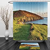 Vipsung Shower Curtain And Ground MatSeaside Decor Collection The South West Coast Path as It Passes Hemmick Beach from Gorran Haven Cliffs Picture Olive GreenShower Curtain Set with Bath Mats Rugs