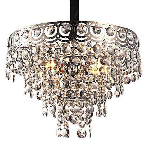 Modern Crystal Chandelier with Elegant K9 Crystal and Round Metal Shade Lighting Fixture Pendant Lamp for Dining Room Bathroom Bedroom Living-Room 3 E26 LED Bulbs (Transparent Pewter)