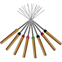 Marshmallow Roasting Sticks Set of 8 Telescoping Rotating Smores Skewers & Hot Dog Fork Kids Camping Campfire Fire Pit Accessories