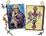 Saint Anthony Child Jesus Cross and Lilies Cloth Rosary Icon Pouch Case Zipper 5 3/8 Inch