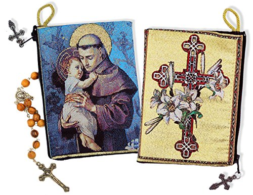 Saint Anthony Child Jesus Cross and Lilies Cloth Rosary Icon Pouch Case Zipper 5 3/8 Inch by Alex-Intl