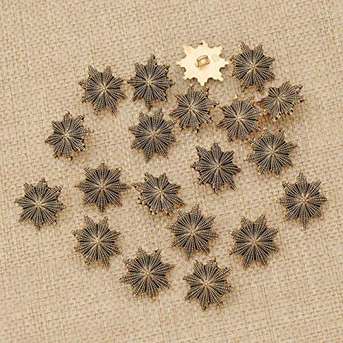 MOPOLIS Vintage Metal Hollow Flower Buttons Shank Snap Fastener Sewing Kit Craft DIY | Size - #F51 20 Pcs/24mm