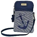 Anchor Crossbody Bag Nautical iPhone Cell Phone Purse Bag PU Leather Canvas Handbag for Smartphone Credit Card Passport Keys
