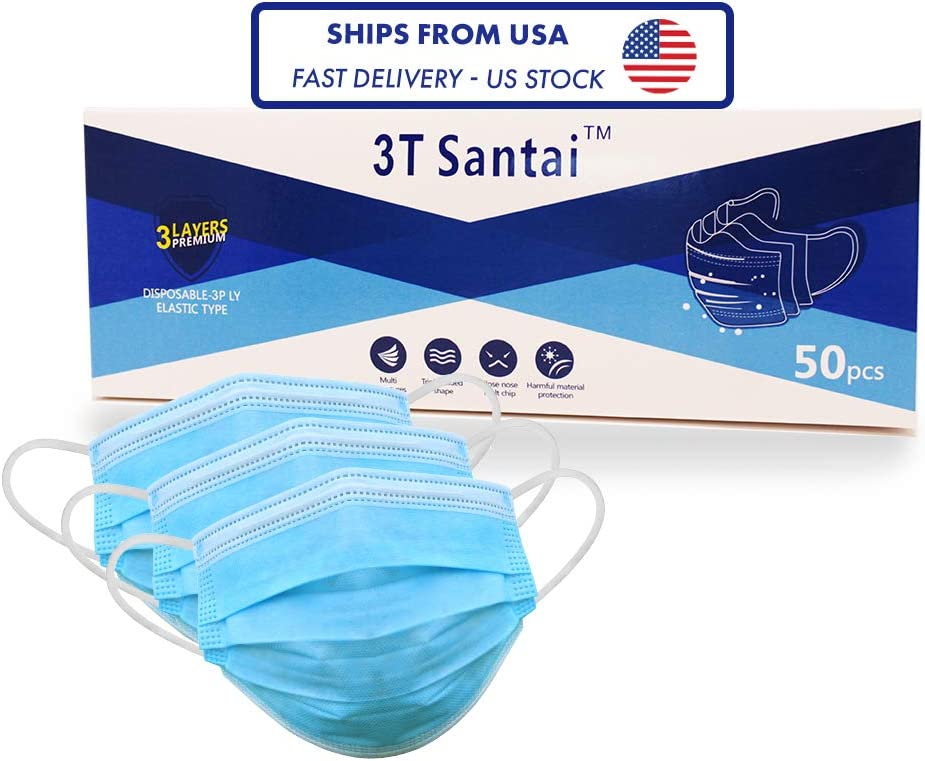 Face Mask, Pack of 50, Ships from USA, Fast Delivery in 2-5 Days