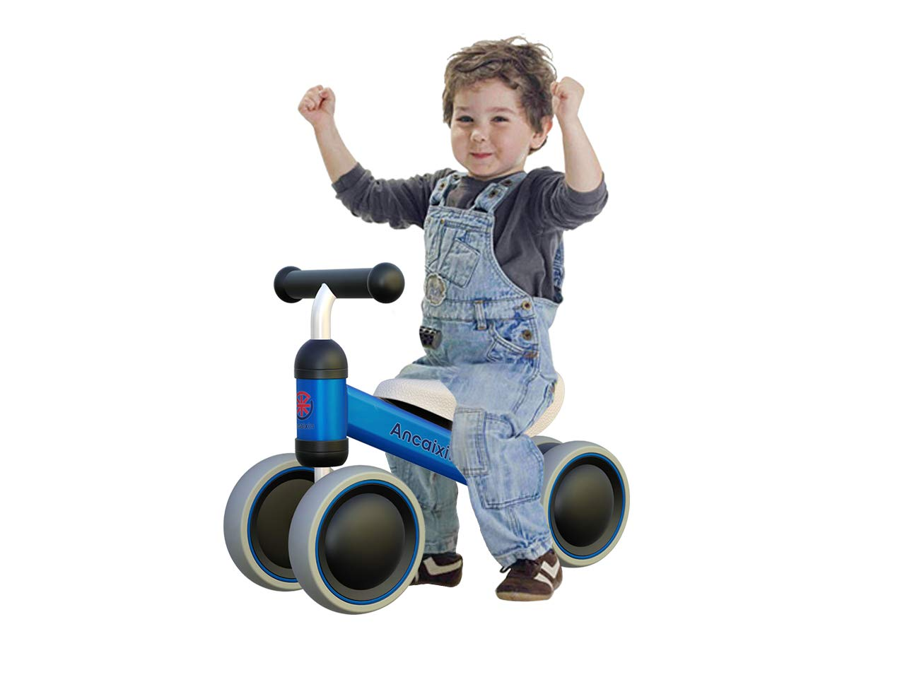 Ancaixin Baby Balance Bikes Bicycle Children Walker Toys for 1 Year Old No Foot Pedal Infant Four Wheels First Bike Blue
