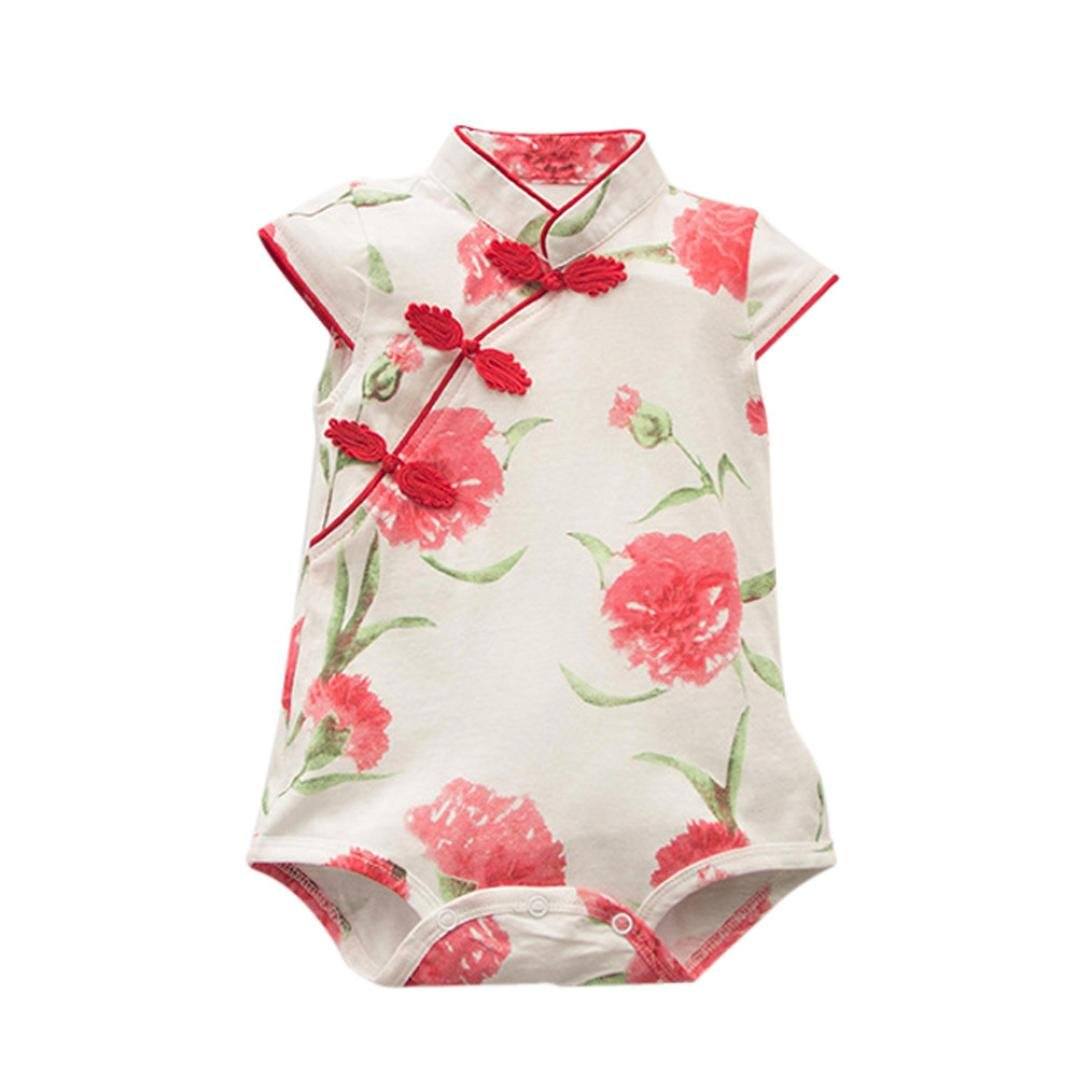 Festwolf Baby Girls Rose Flower Print Sleeveless Cheongsa Chinese Style Romper FTA-20