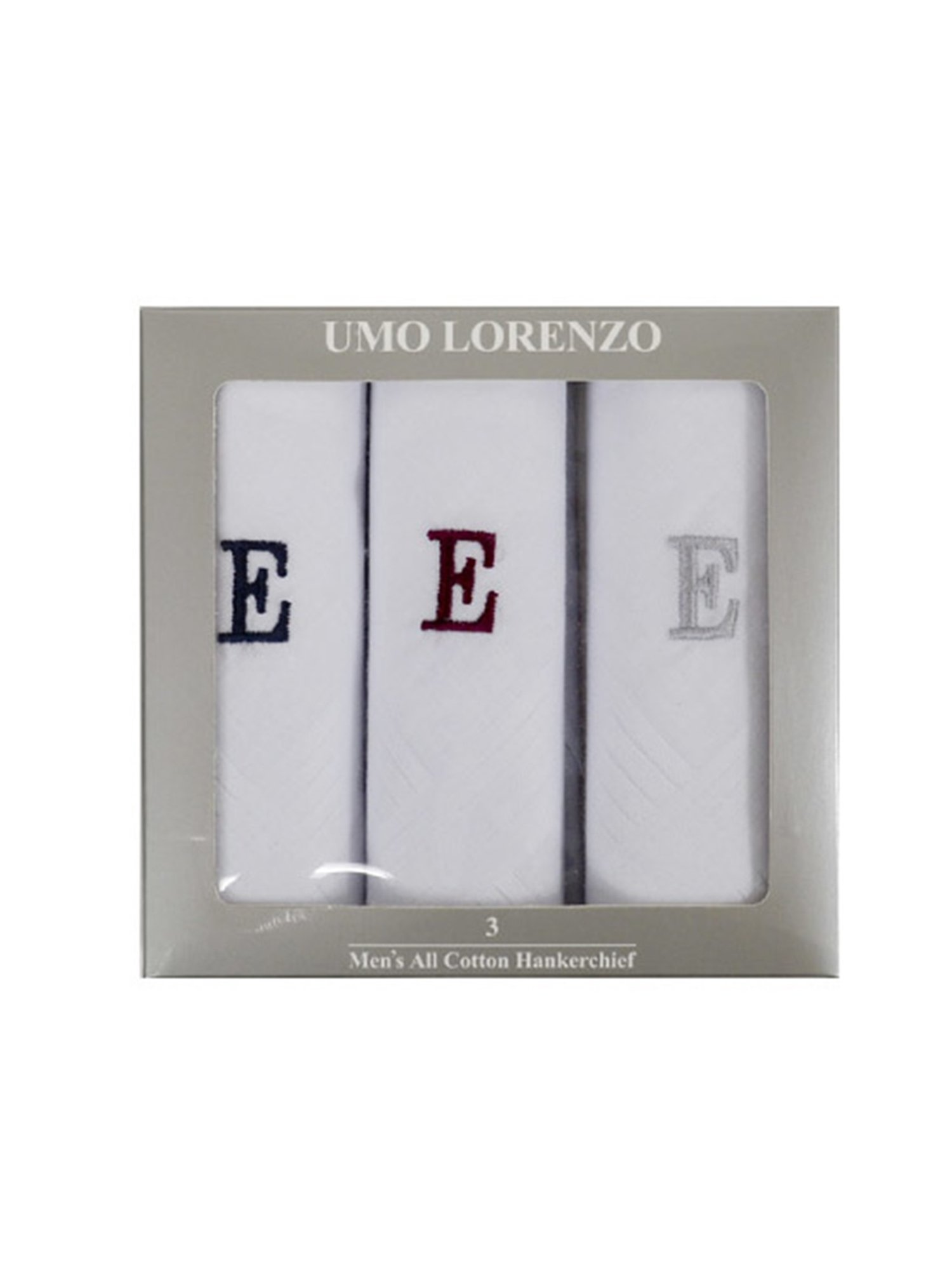Men's 3 PC 100% Cotton Monogrammed Handkerchiefs Initial Letter Hanky
