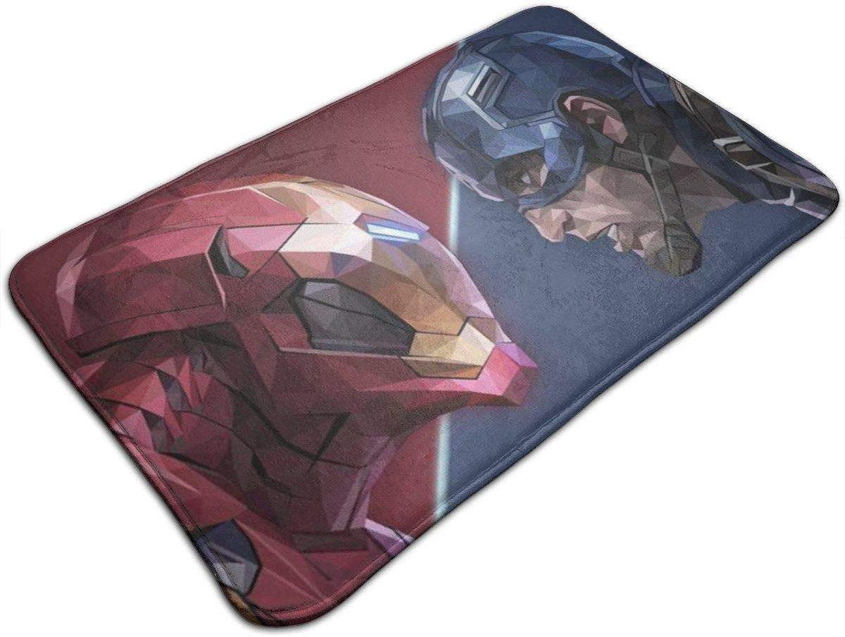 Alfombrilla de ba/ño Iron Man and Cap Design Antideslizante Absorbe la Alfombra Suave Alfombra para Patio Interior y exterior-19.5 x 31.5 Pulgadas