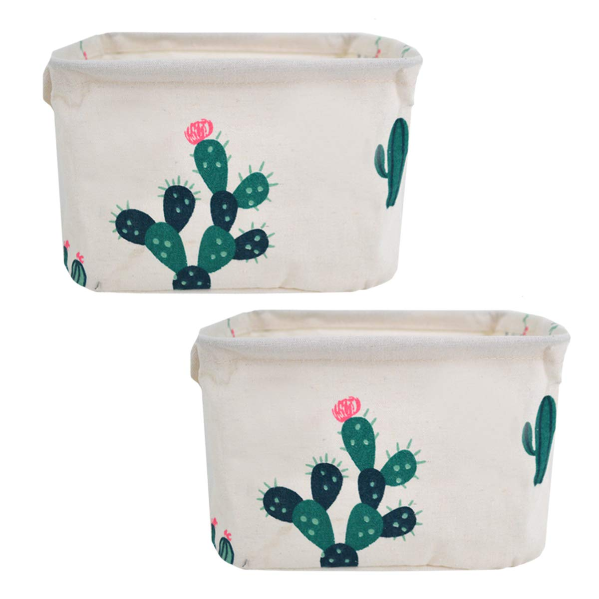 Danse Jupe 2 Pack Small Foldable Storage Bins Baskets Home Decor Cartoon Cloth Storage Box Organizers for Baby Toys,Stationery,Office Supplies(Green Cactus)