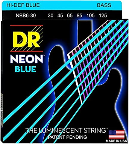 DR Strings Hi-Def NEON Blue Coated 6-String Bass Strings Medium (30-125) (Dr Bass Guitar Strings For 6)