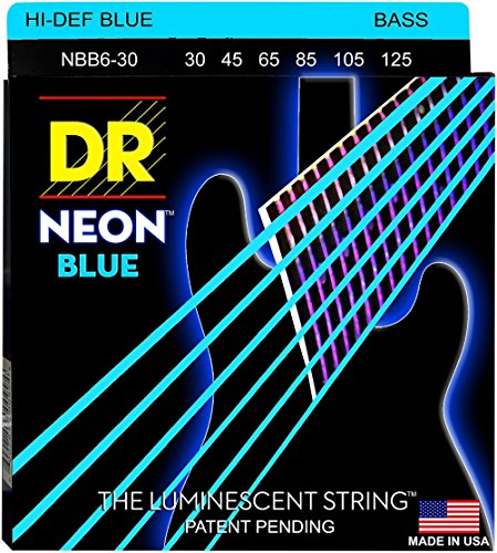 DR Strings NBB630 25-130 Medium Set Handmade Neon Hi-Def Blue Coated 6-String Bass Strings