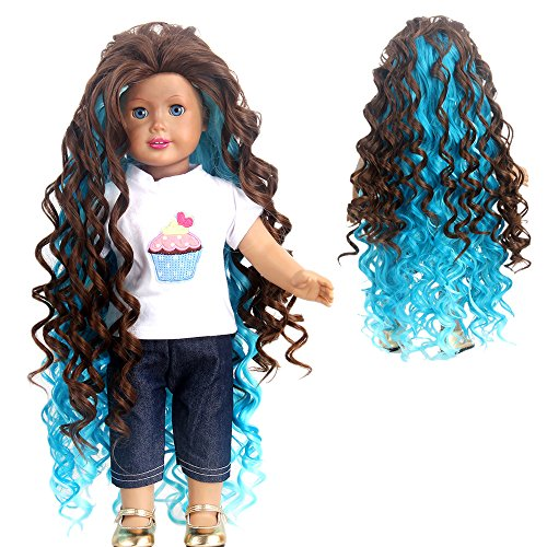 STfantasy American Girl Doll Wigs Ombre Brown Highlights Blue Long Curly Wavy Hairpiece -