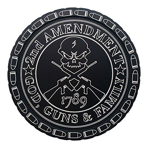 DipLidz Engraved snuff lid God, Guns And Family (Black, 5600-Copenhagen Fiber Board)