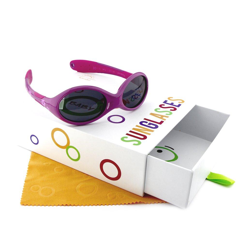 Occhiali da sole per BIMBI PICCOLI Active Sol | RAGAZZE | Protezione 100% UV 400 | polarizzati | indistruttibili in gomma flessibile | 0-2 anni | 18 grammi
