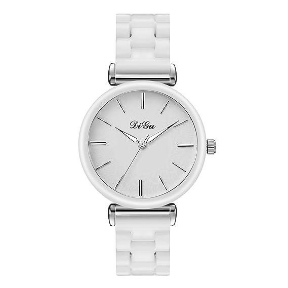 Relojes Pulsera Dial de patrón de Flores Minimalismo Cuarzo Relojes Mujer Chica Blanco Correa de cerámica de imitación Exquisito